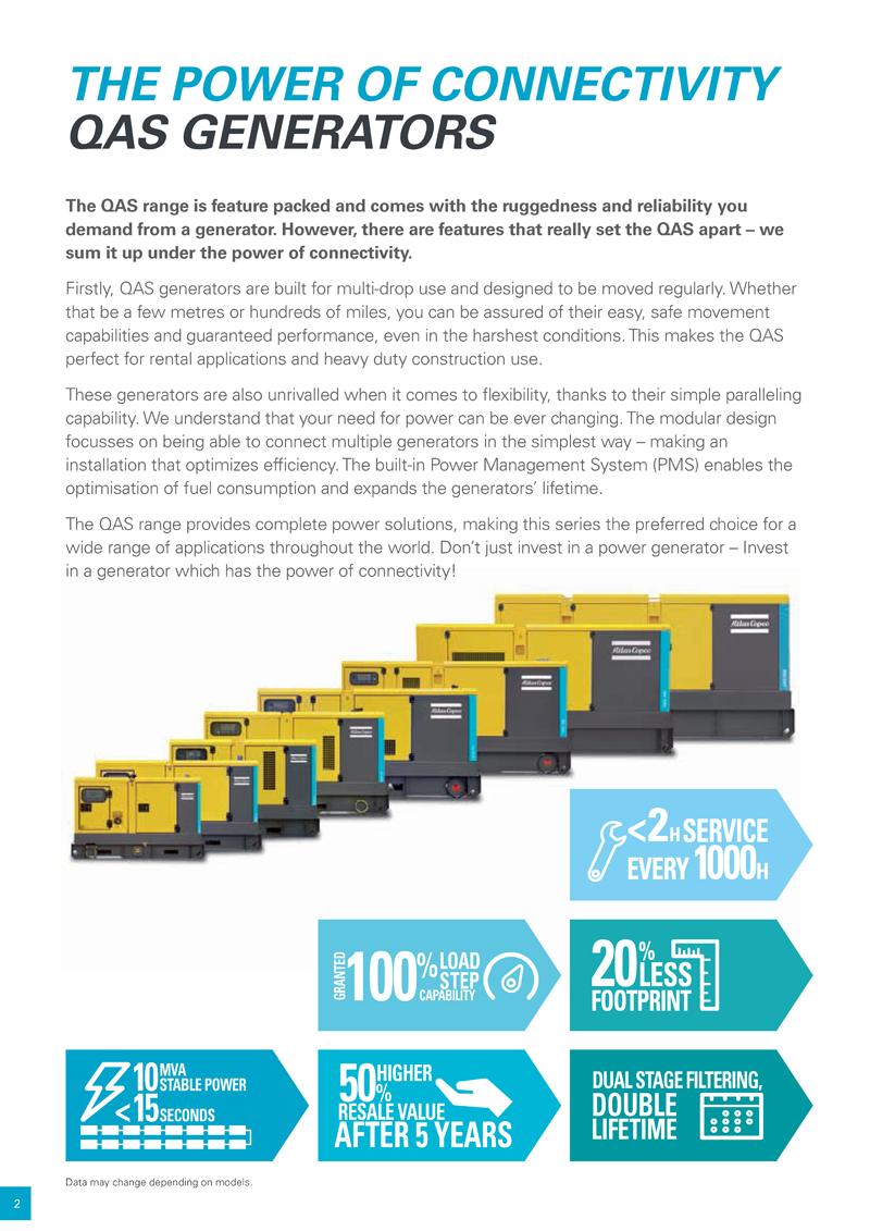 Atlas Copco QAS Generators the power of connectivity Model: QAS14/ QAS20 /QAS30 /QAS40 /QAS60/ QAS80 /QAS100